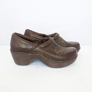 Ariat Brown Leather Expert Work Clogs Flower 8